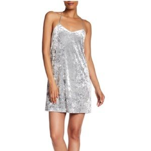 CE CE Cynthia Steffe Silver Crushed Velvet Dress 4